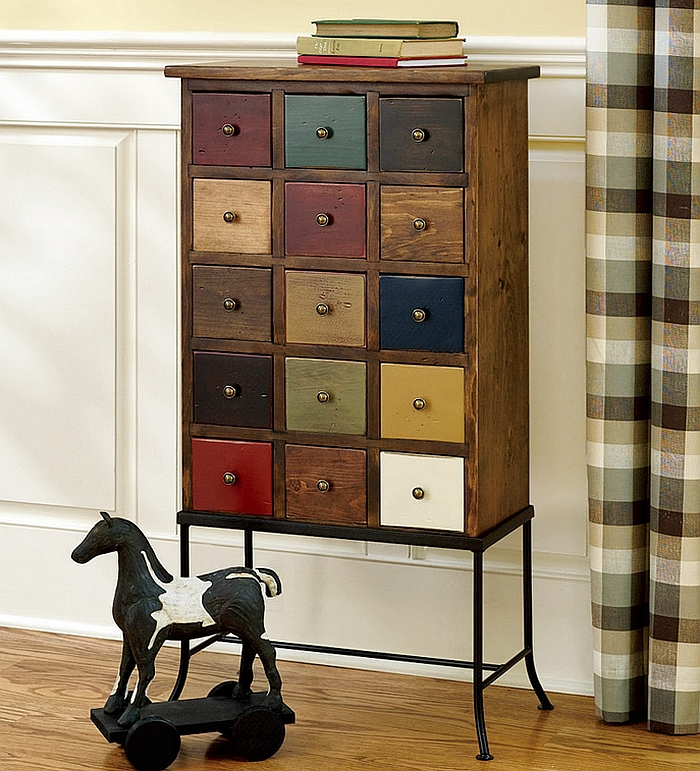 Apothecary Chest on a Stand Realized from White Pine Wearing a Contemporary Touch of Color