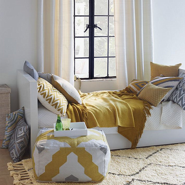 Yellow Wool Rug for a Small Bedroom