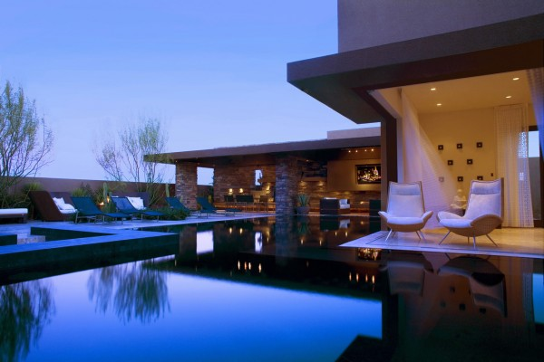Relaxing and Rejuvanating Outdoor Living With Stunning Blue sleek pool designs