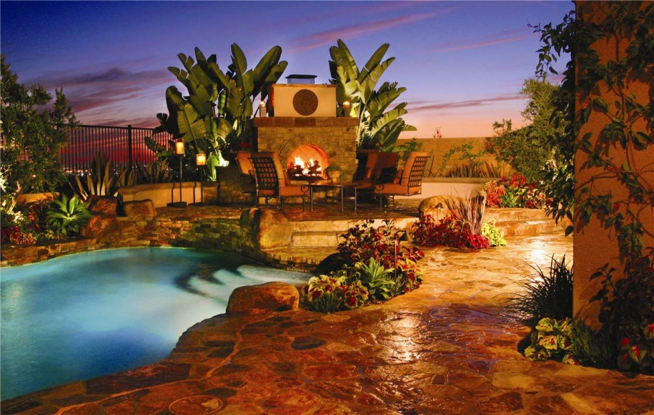 Backyard Landscaping Design Ideas Amazing Near Swimming Pool Fireplaces