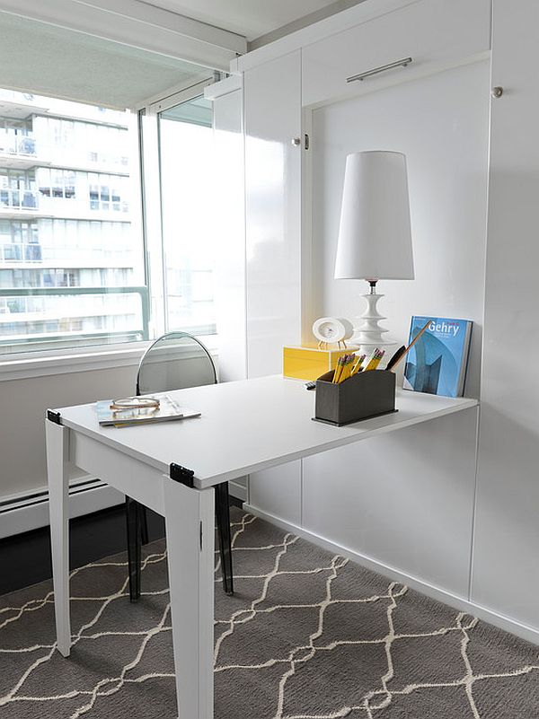 Foldable Office Desk in Minimalist White Interior Design