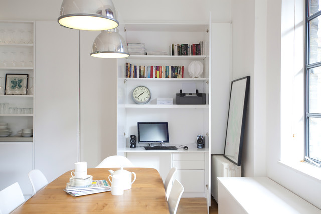 Hideaway Home Office in a Immaculate White Stark Small Space Interior Design & Space-Saving Hideaway Desks for Small Apartment Designs