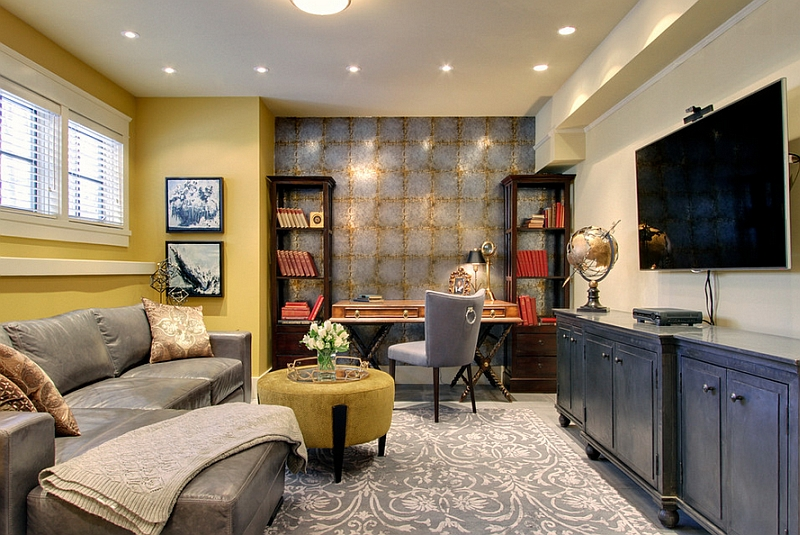 Gorgeous Stylish Elegantly Decorated Home Office In A Basement