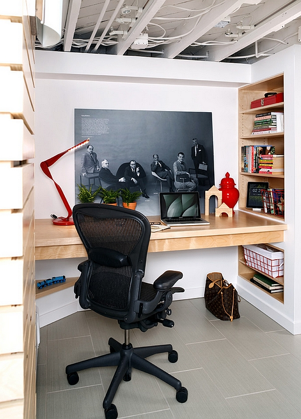 Elegant Small Basement Home Office With A Jaw Dropping Built In Desk And Smart Wall  Shelves Home Design Ideas