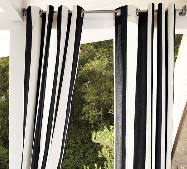 Black and White Striped Outdoor Drapes