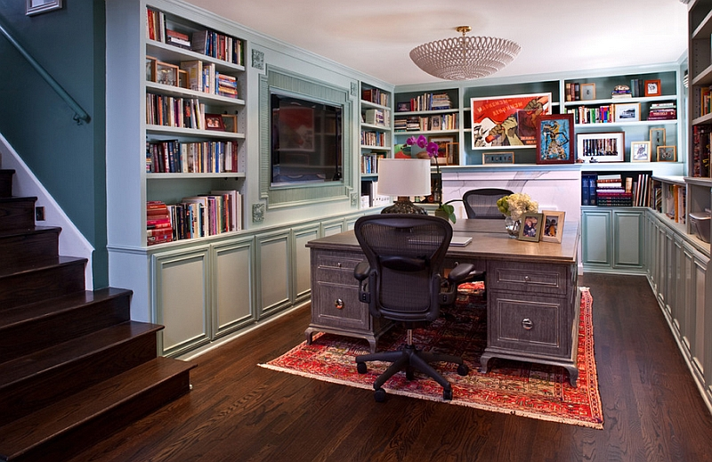 Transitional Basement Home Offices That Is A Real Showstopped