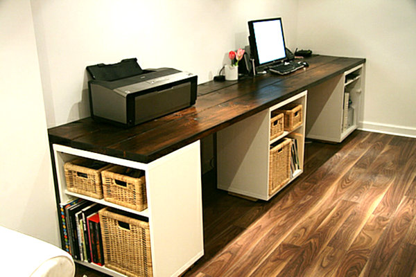 18 diy desks ideas that will enhance your home office large diy desk with three storage shelves solutioingenieria Gallery