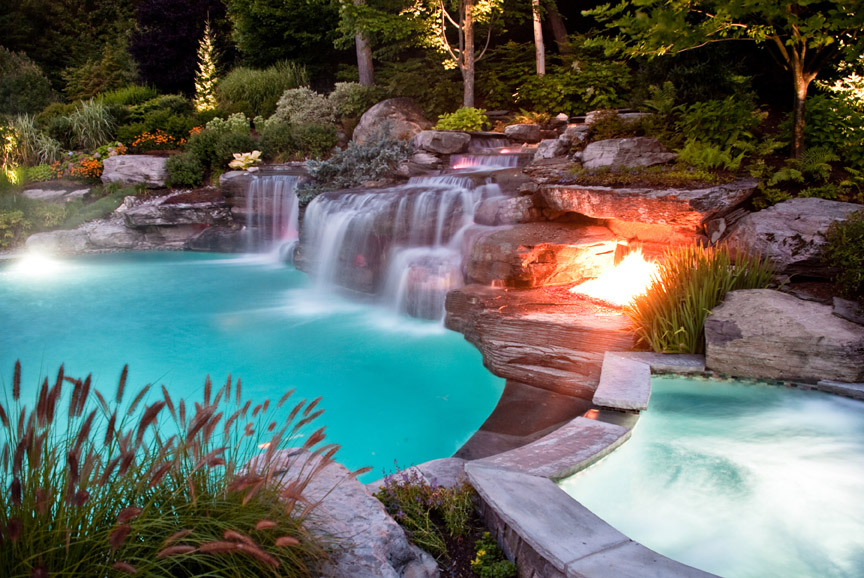 Backyard Landscaping Design Ideas- Swimming Pool Fireplaces