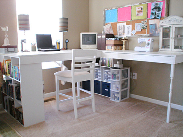 Creative Modern DIY Corner Desk With Storage Areas