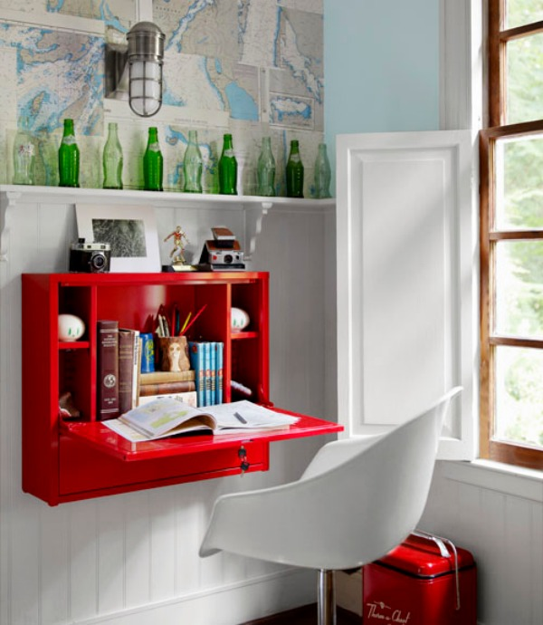 Small Red Fold Down Desk by the Window