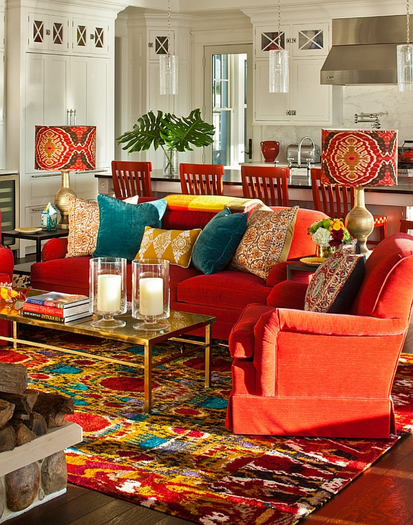 Bohemian Look Enhanced by Bold Lampshades and Candles