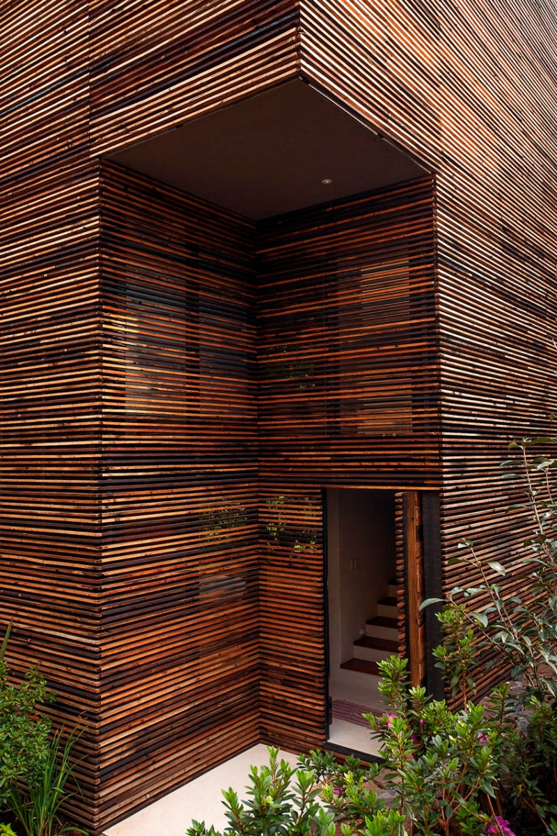 wooden facade Chipicas Town Houses Envisioned by Alejandro Sanchez Garcia Arquitectos