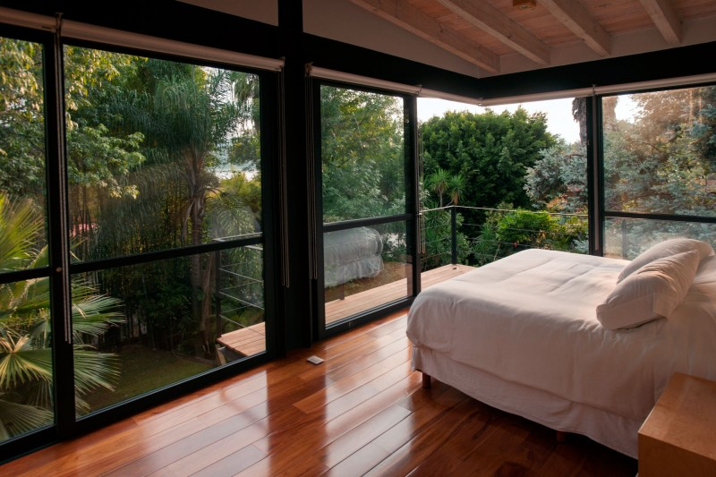 glass wooden bedroom design