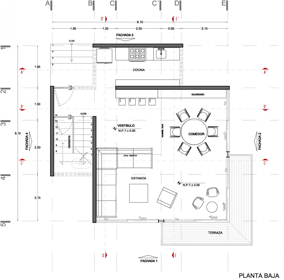 floorplan blueprint groundfloor section plane