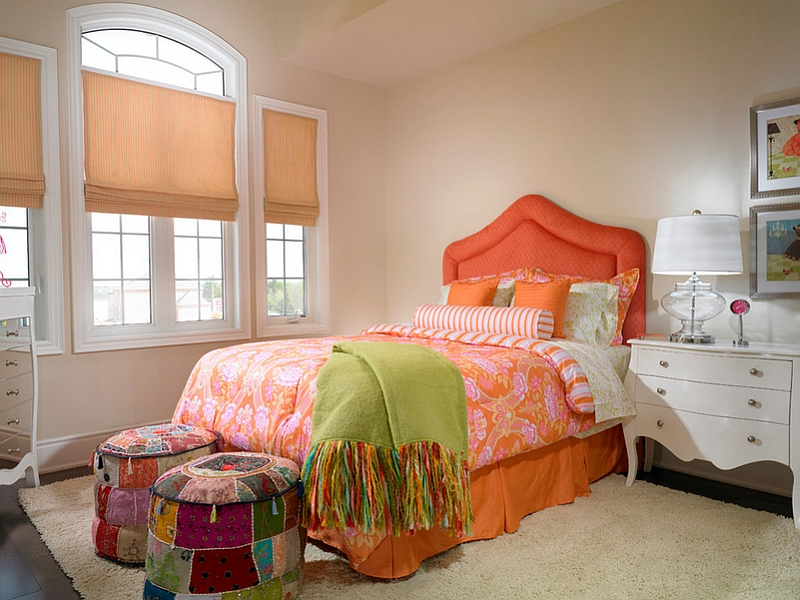 Colorful Ottomans At The End Of The Bed Giving The Room A Bohemian Touch