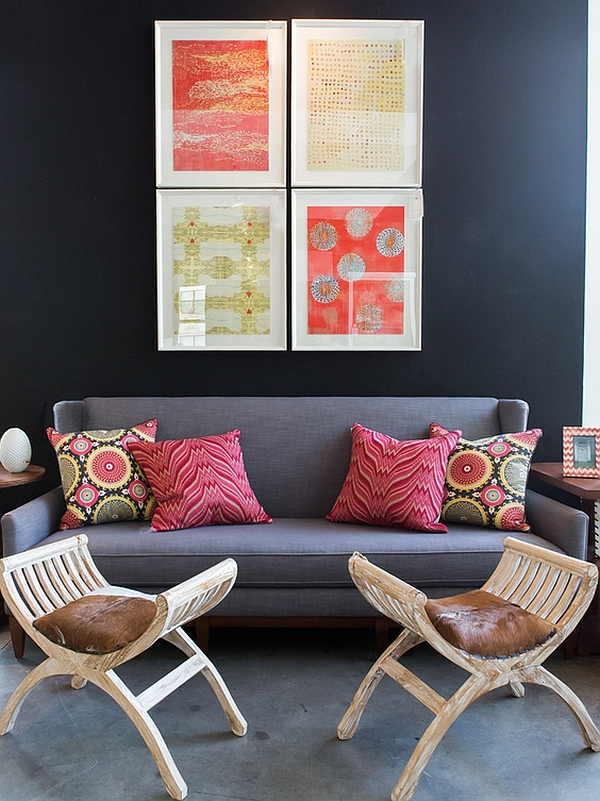 Colorful Wall Art In Bohemian Style And Superb Pillows Enhancing The Space