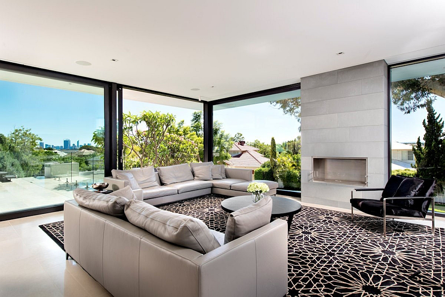 Geometric Patterned Rug in a Living Room with Fabulous Expansive Views