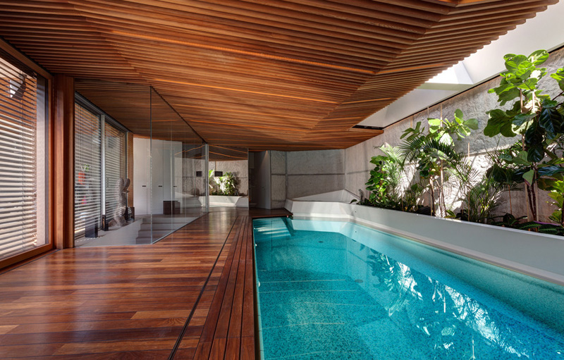 pool deck and swimming pool Home Spa Extension- Relaxing and Rejuvenating Attractor by architekti.sk