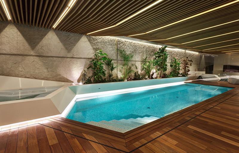 swimming pool detail and deck area Home Spa Extension- Relaxing and Rejuvenating Attractor by architekti.sk