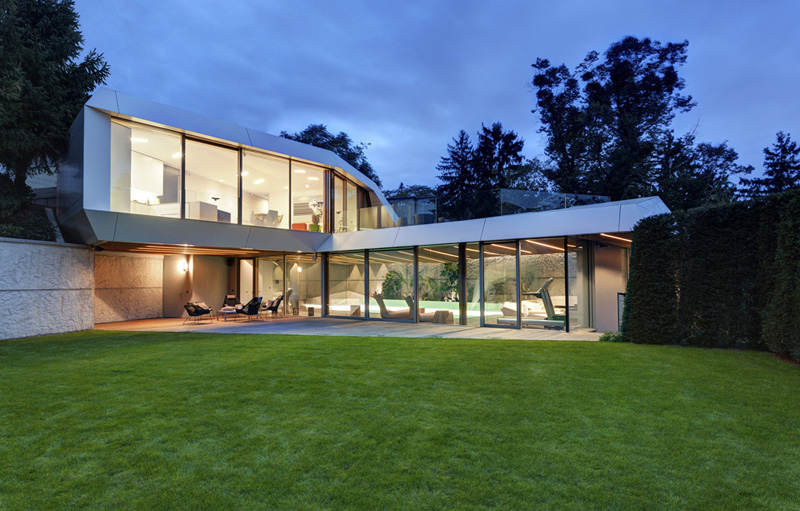 superb Home Spa Extension- Relaxing and Rejuvenating Attractor by architekti.sk illuminated at night