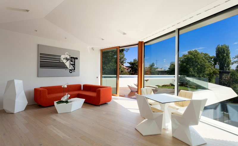 minimalist living room interior design in the Home Spa Extension- Relaxing and Rejuvenating Attractor by architekti.sk