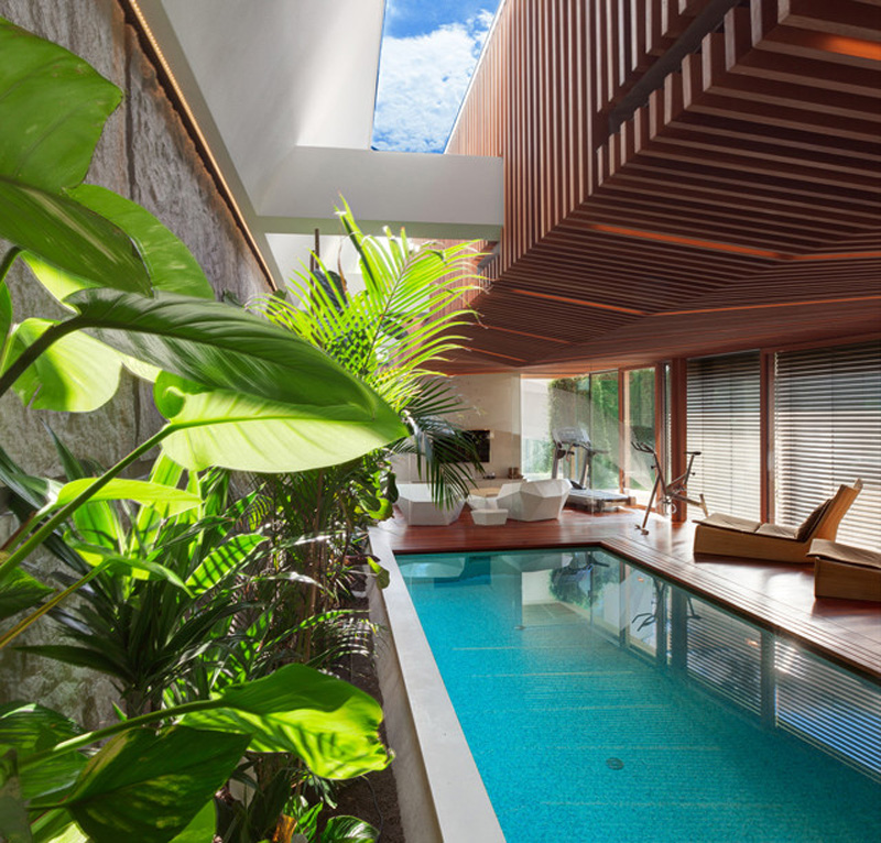 swimming pool design in Home Spa Extension- Relaxing and Rejuvenating Attractor by architekti.sk   and lounge area