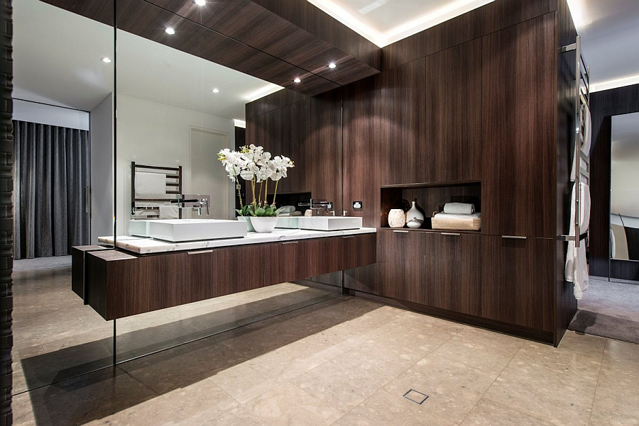 . Wood Adding Warmth to a Sizzling Contemporary Bathroom in the Perth