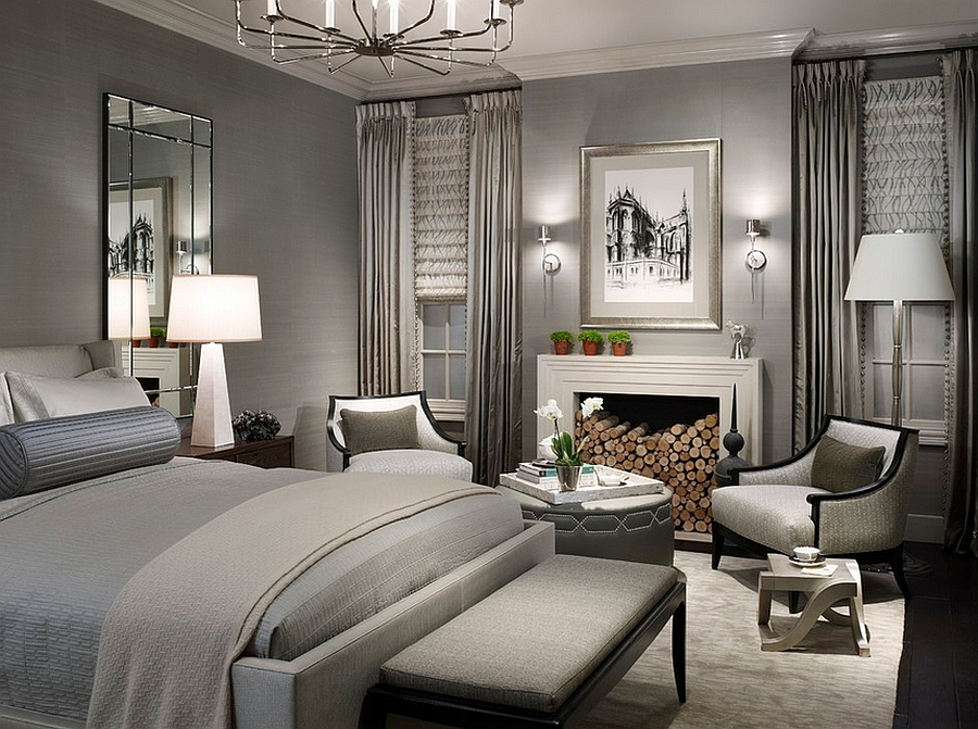 Magnificent Bedroom in Gray Using Lighting to Introduce Shading That Signal the Difference Between Light and Dark Shades
