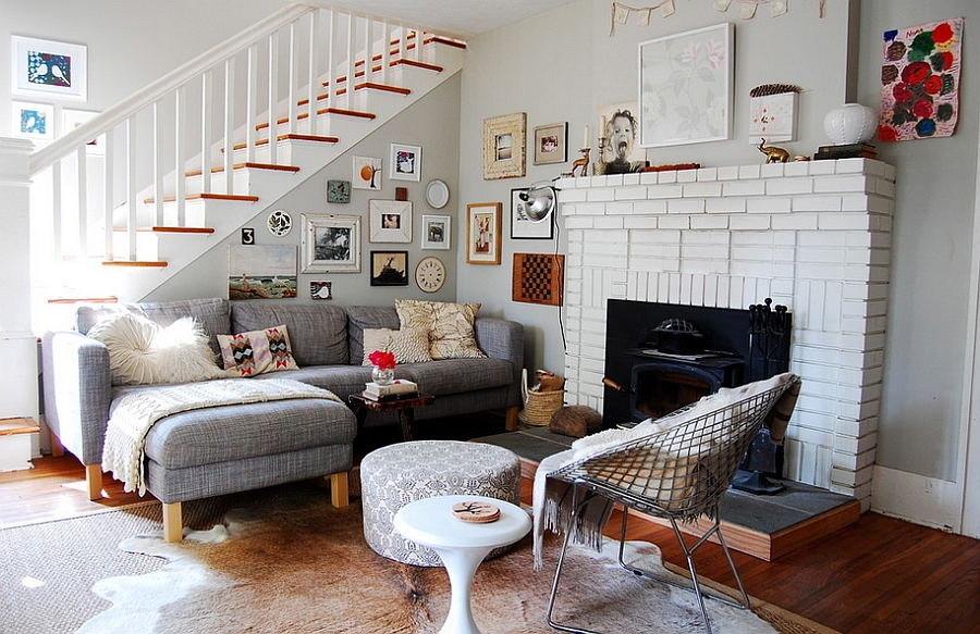 Eclectic Living Room Inviting You to Use Multiple Textures, Shapes and Color