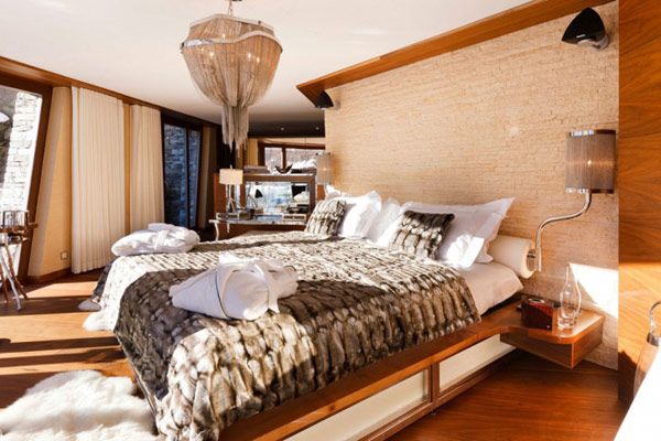 bedroom interior design in the Fairy-Tale Chalet in Switzerland Overlooking the Iconic Matterhorn