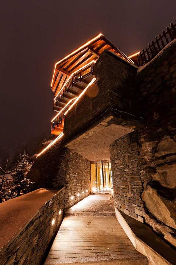 monumental access in the Fairy-Tale Chalet in Switzerland Overlooking the Iconic Matterhorn