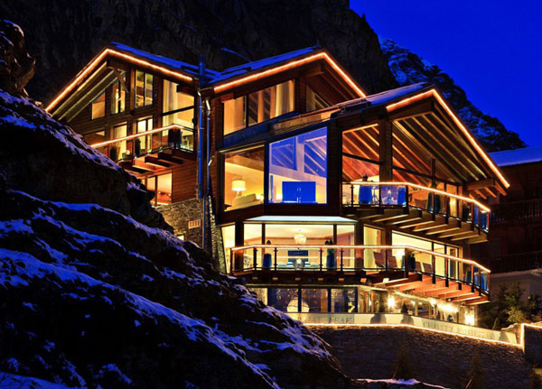 Fairy-Tale Chalet in Switzerland Overlooking the Iconic Matterhorn lighten up at night