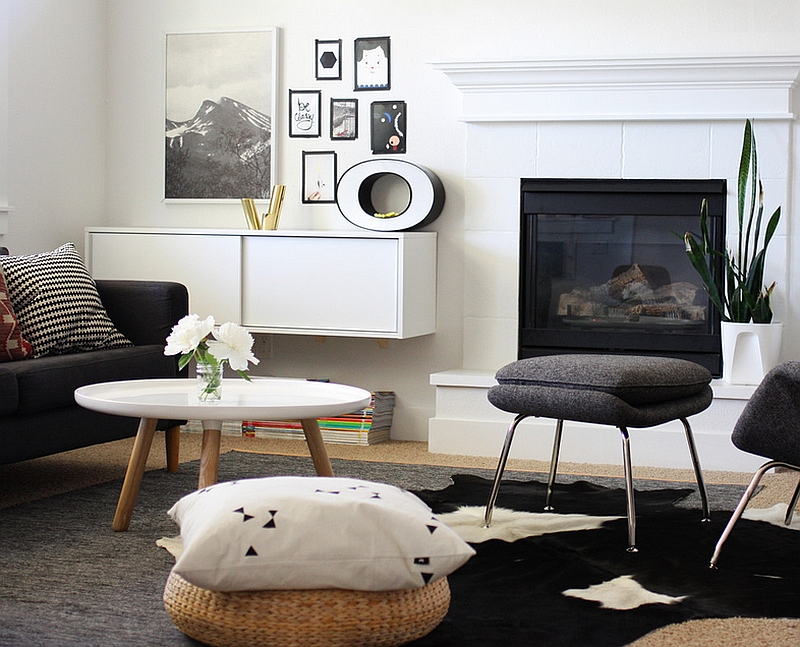 Various Shades Of Black White And Gray Combine In A Contemporary Living Room Design