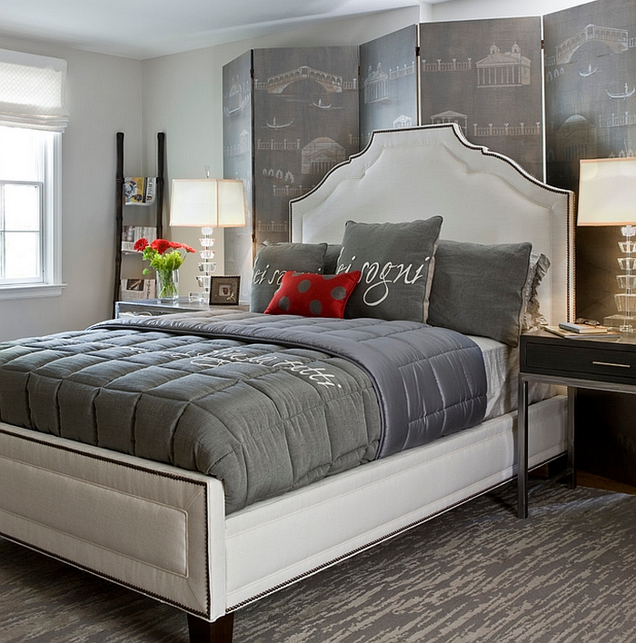Custom Hand Painted Screen and Multiple Shades of Grey Shaping a Bedroom With Exceptional Aesthetic Values