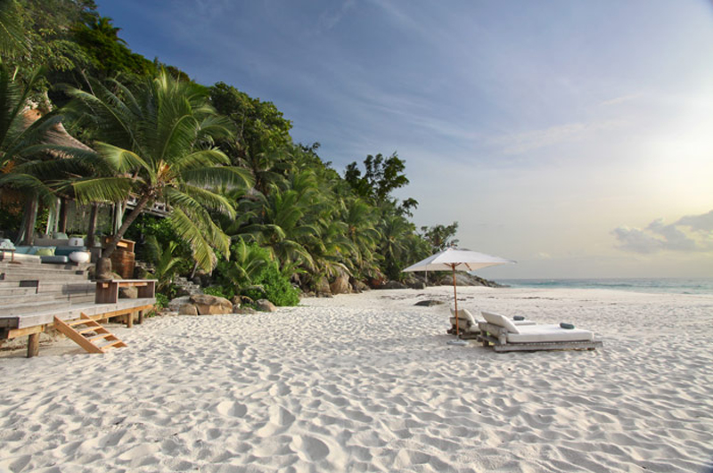 view of the North-Island-Villa-Seychelles from the beach