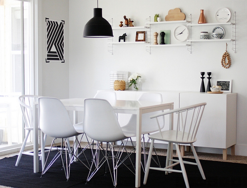 Scandinavian Style Dinning Room Embraced by Black and White