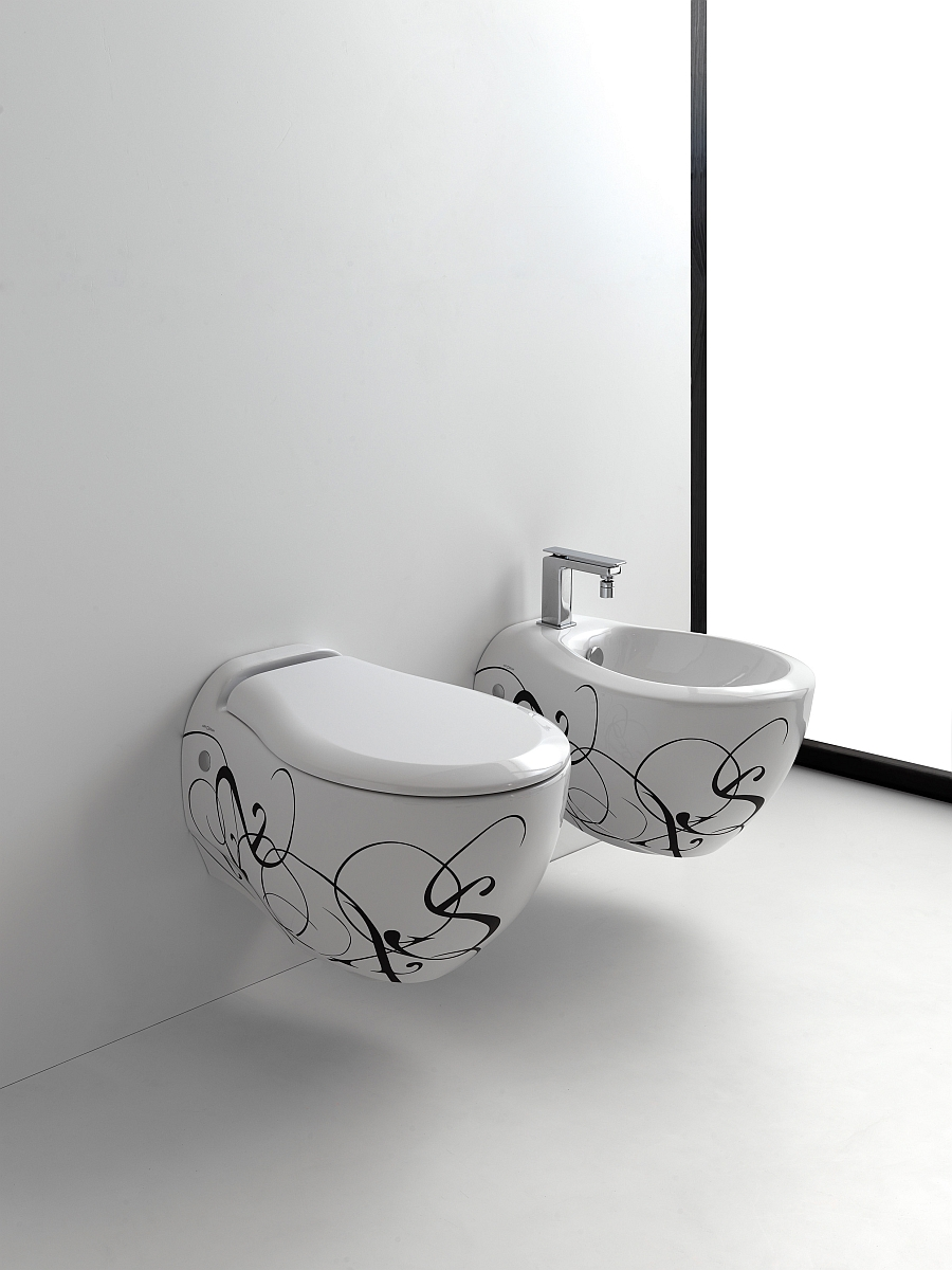 white and black Wall-Hung-Sanitary-Fixtures-For-Small-Space-Conscious-Bathroom-Designs