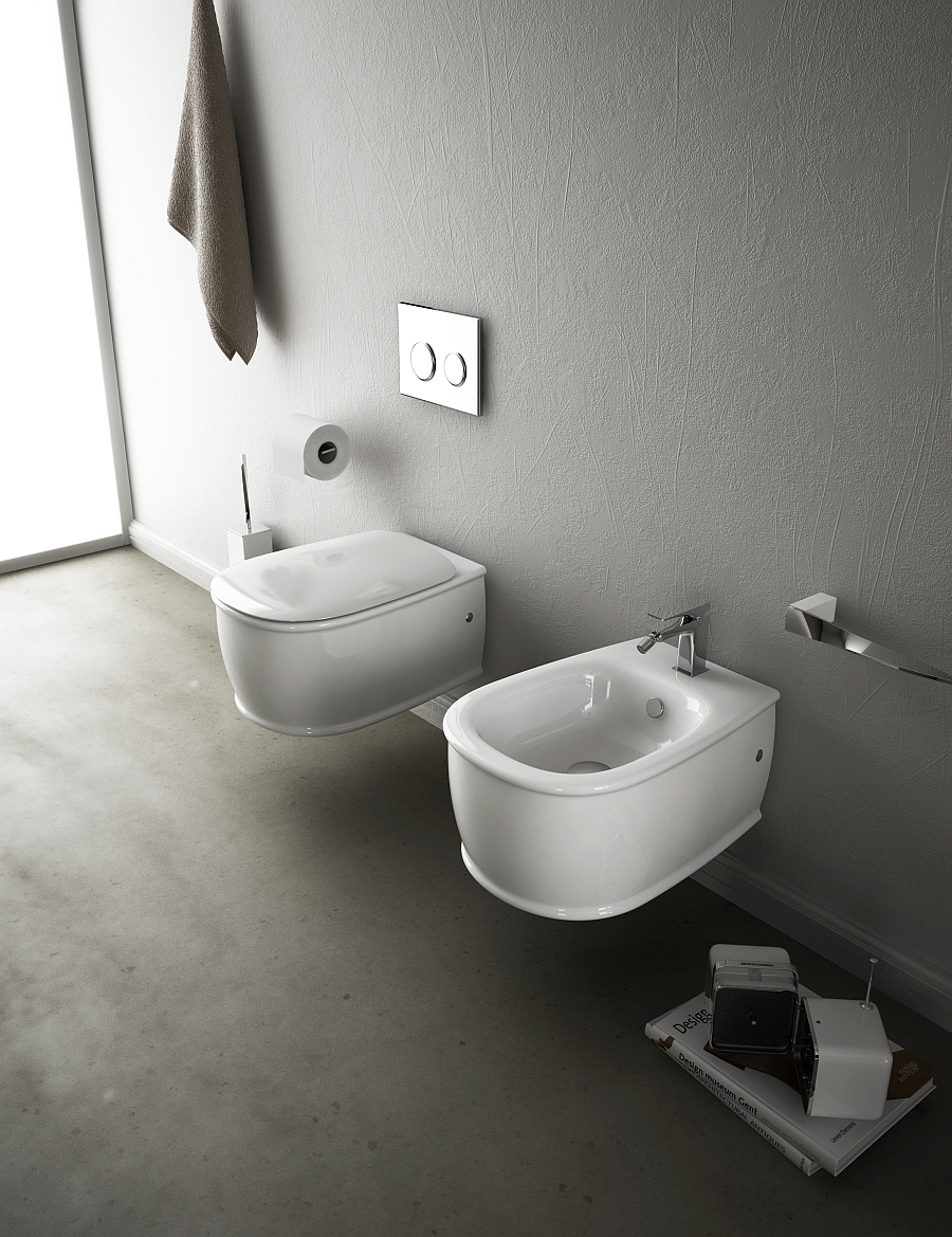 smooth Wall-Hung-Sanitary-Fixtures-For-Small-Space-Conscious-Bathroom-Designs
