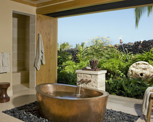 Master Bath With Expansive Views and Sculptural Bathtub