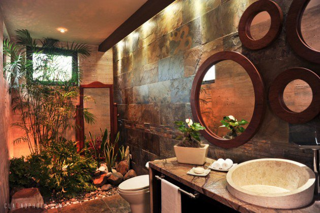 Interior Garden Bathroom With Mirrors  15 Relaxing Tropical Bathroom Designs For The Summer
