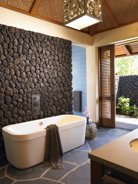 Hawaiian Tropical Bathroom With Stone Decor