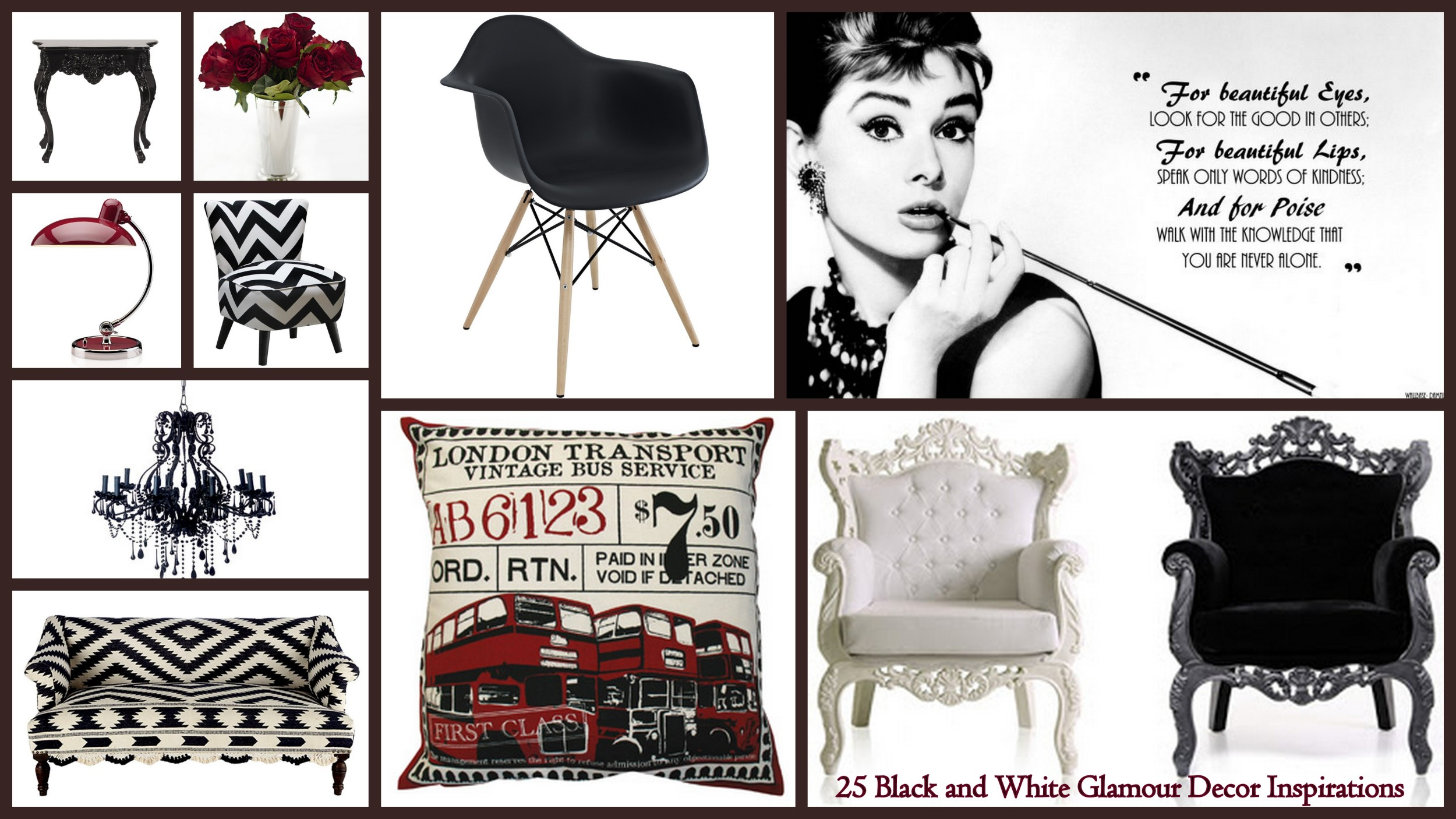 25 Black and White Glamour Decor Inspirations 13