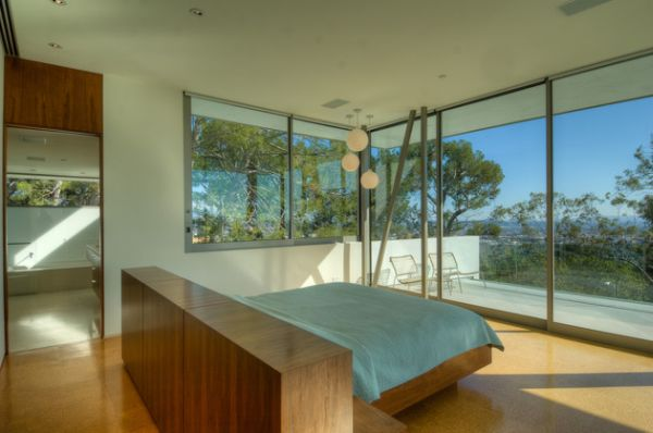 Expansive Views Offered to a Floating Bed Positioned in the Center