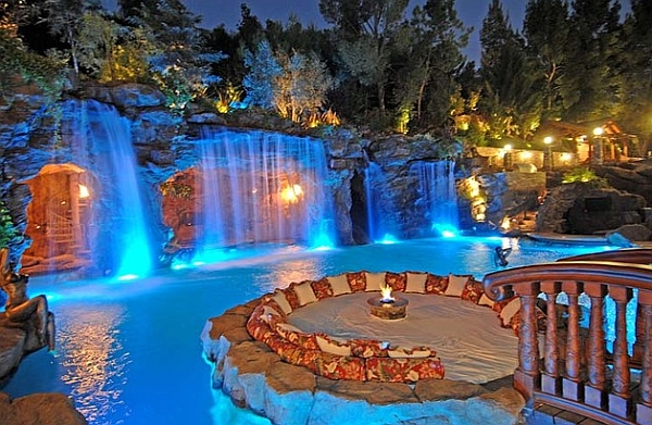 Charming spectacular pool waterfalls to fashion every backyard landscape for Name something you might find in a swimming pool