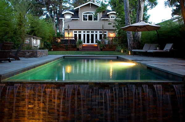 The Simple Overflow of a Swimming Pool Can Create Super Waterfall Visual and Sound That You Need