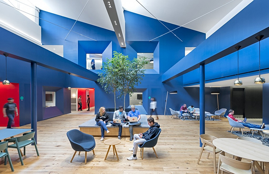 Blue Room Inside Beats Headquarters Exuding Calm and Sophistication in an Unusual Geometry