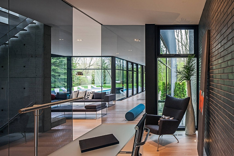Beautiful Minimal Home Work space Nestled in a Glass Chamber in a private home