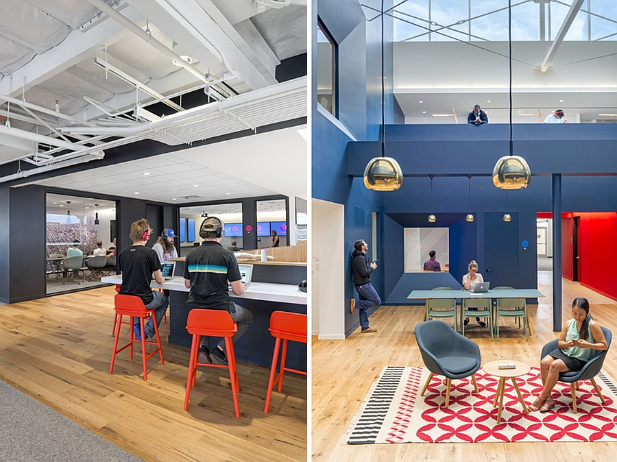 Bright and Colorful Interiors with Chromed Pendants Meant to Enliven the Beats Headquarters