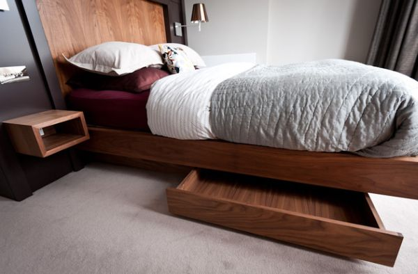 Built In Storage Units Underneath the Floating Bed Keeping the Clutter Away