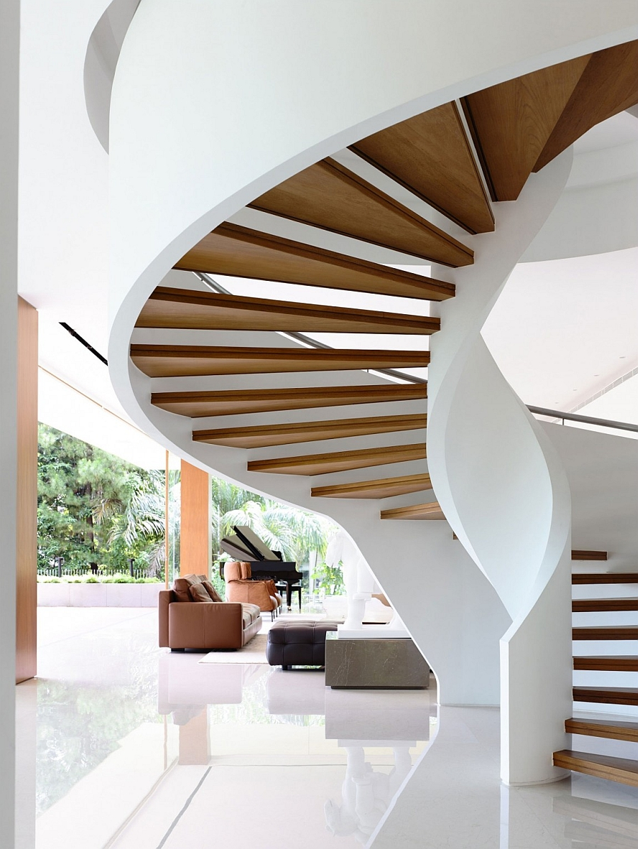 elicoidal spiral staircase enhancing the interiors magnificently